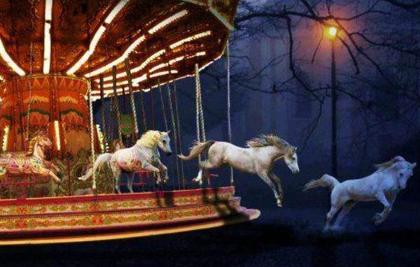 horses escaping from a carousel