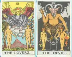Tarot Cards Lovers VI and Devil XIII