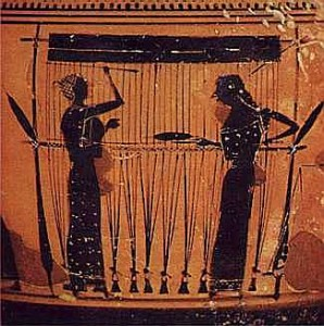 Ariadne, the spider, dared to  compare her weaving with that of Athena.